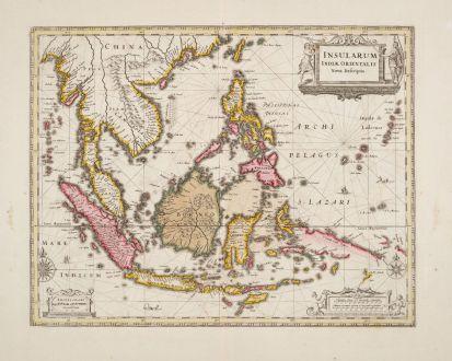 Antique Maps, Janssonius, Southeast Asia, 1630 (1690): Insularum Indiae Orientalis Nova Descriptio.