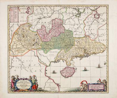 Antike Landkarten, Janssonius, China, Südwest China, Hainan, 1720: Iunnan, Queicheu, Quangsi et Quantung Provinciae Regni Sinensis ...