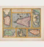 Old coloured map of Djerba, Elba, Corfu, Sicily, Sardinia, Malta. Printed in Antwerp in the year 1587.