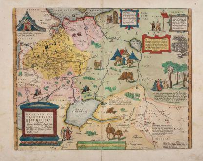 Antike Landkarten, Ortelius, Russland, Moskau, Sibirien, 1584: Russiae, Moscoviae et Tartariae Descriptio. Auctore Antonio Ienkensono Anglo, Edita Londini Anno 1562 ...