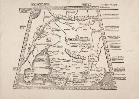 Antique Maps, Waldseemüller, Russia, Crimea, Caspian Sea, Caucasus: Secunda Asiae tabula