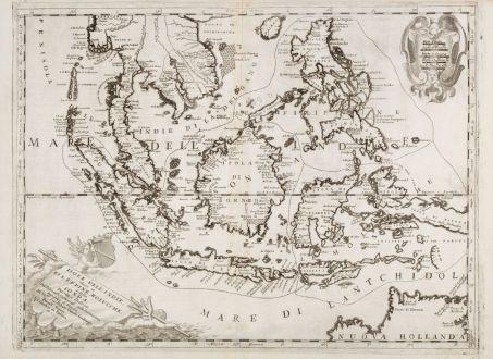 Antike Landkarten, Coronelli, Südost Asien, Borneo, Nordaustralien, 1696: Isole dell'Indie diuise in Filippine, Molucche, e della Sonda