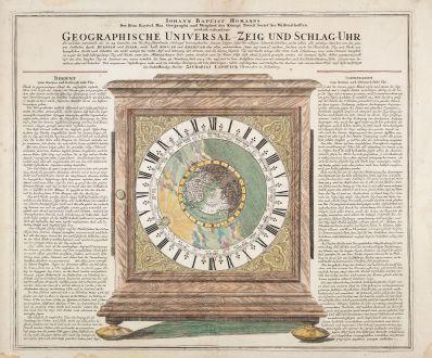Antique Maps, Homann, California as an Island, 1720: Geographische Universal-Zeig und Schlag-Uhr