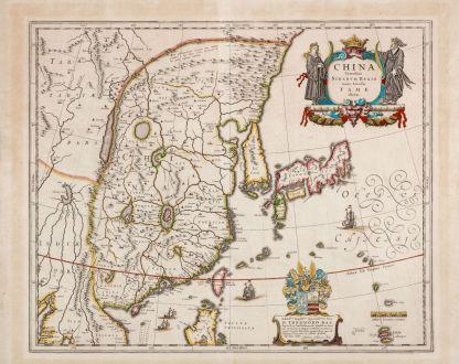 Antike Landkarten, Blaeu, China, 1634: China Veteribus Sinarum Regio nunc Incolis Tame dicta