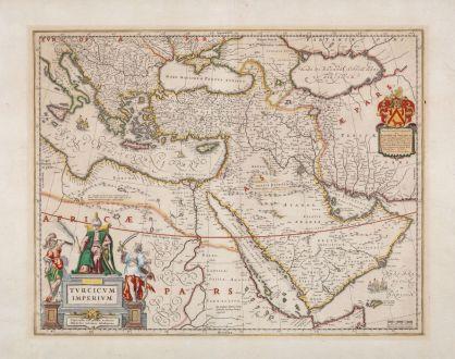 Antique Maps, Blaeu, Turkey, Ottoman Empire, 1635: Turcicum Imperium