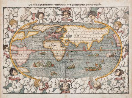 Antike Landkarten, Münster, Weltkarte, 1574: Das erst General, inhaltend die beschreibung und den Circkel des gantzen Erderichs und Möre