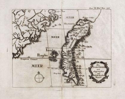 Antike Landkarten, Stöcklein, Südost Asien, Taiwan, Formosa, 1726-36: Die Insel Formosa neü abgemessen auf Befehl Kaysers Kamhi