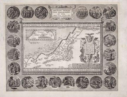 Antique Maps, Ortelius, Holy Land, Israel and Abraham s life, 1595: Abrahami Patriarchae Peregrinatio, et Vita