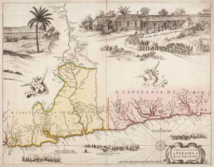 Antique Maps, Blaeu, South America, Brazil, Paraiba, Rio Grande do Norte: Praefecturae de Paraiba, et Rio Grande