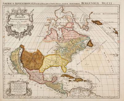 Antique Maps, Jaillot, America Continent, 1694 (1729): Amerique Septentrionale Divisee en Ses Principales Parties [and] L'Amerique Meridionale Divisee en Ses Principales Parties.