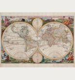 Kolorierte antike Weltkarte. Gedruckt bei Visscher im Jahre 1663 in Amsterdam.