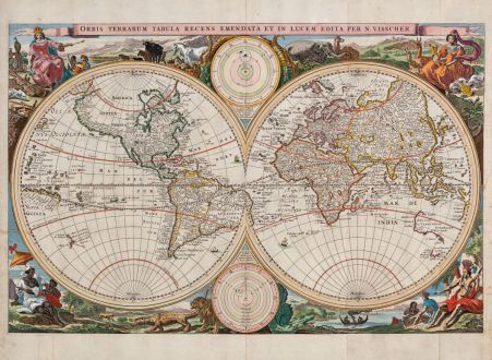 Antike Landkarten, Visscher, Weltkarte, 1663: Orbis Terrarum Tabula Recens Emendata et in Lucem Edita per N. Visscher