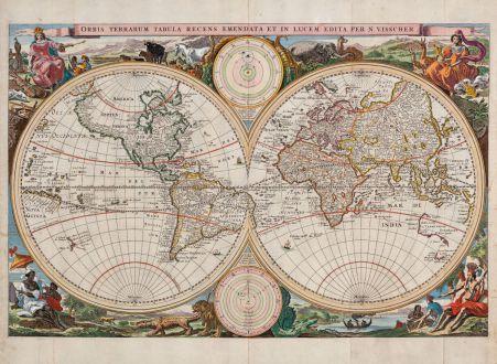 Antique Maps, Visscher, World Map, 1663: Orbis Terrarum Tabula Recens Emendata et in Lucem Edita per N. Visscher