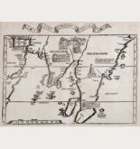 Antike Holzschnitt-Landkarte des asiatischen Kontinents. Gedruckt bei M. & G. Trechsel im Jahre 1535 in Lyon.