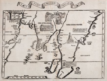 Antique Maps, Fries, Asian Continent, 1535: Tabu. moder. Indiae