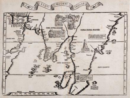 Antike Landkarten, Fries, Asien Kontinent, 1535: Tabu. moder. Indiae