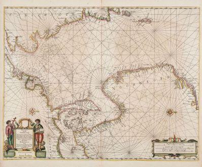 Antique Maps, Janssonius, Atlantic Ocean, North Sea, 1650: Pascaart vande Noort-Zee. Tabula Hydrographica Oceani Borealis.