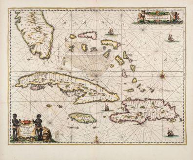 Antique Maps, Janssonius, Atlantic Ocean, Florida and Western Caribbean: Insularum Hispaniolae et Cubae, Cum Insulis circumjacentibus accurata delineatio.
