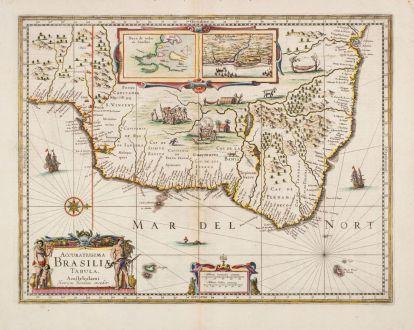 Antique Maps, Hondius, South America, Brazil, 1636: Accuratissima Brasiliae Tabula. Amstelodami Henricus Hondius excudit.