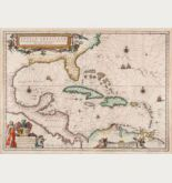 Coloured sea chart of the West Indies, Florida. Printed in Amsterdam by Willem & Joan Blaeu in 1640.