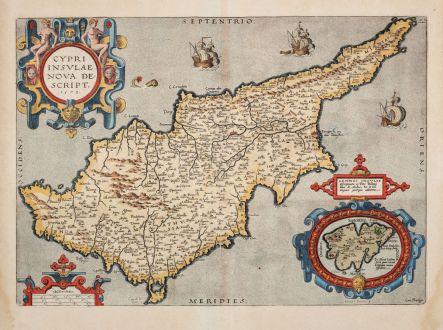 Antike Landkarten, Ortelius, Zypern, 1603: Cypri Insulae Nova Descript. 1573