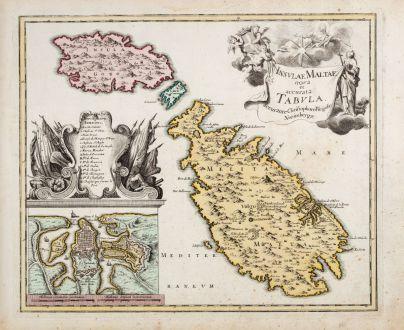 Antike Landkarten, Weigel, Malta, Valetta, Gozo, Malta, 1718: Insulae Maltae nova et accurata Tabula