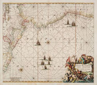 Antique Maps, Ottens, Pacific Ocean, 1745: Novae Hispaniae, Chili, Peruviae, et Guatimalae Littorae