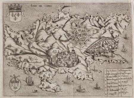 Antike Landkarten, Raigniauld, Zypern, 1629 oder 1640: Isle de Cipre