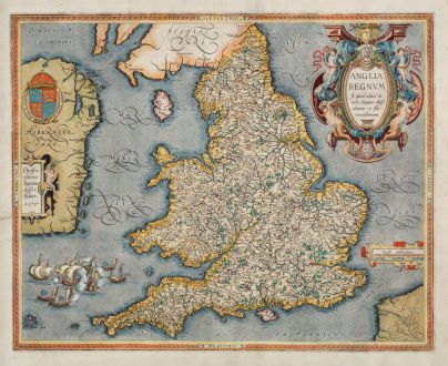 Antike Landkarten, Ortelius, Britische Inseln, Wales, England, 1603: Anglia regnum si quod aliud in toto Oceano ditissimum et florentissimum