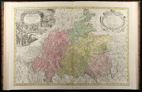 Atlases, Homann Erben, Atlas Silesia, 1750: Atlas Silesiae Id Est Ducatus Silesiae Generaliter Quatuor Mappis Nec Non Specialiter XVI Mappis Tot Principatus...