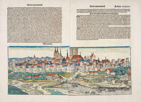 Antike Landkarten, Schedel, Deutschland, Bayern, München, 1493: Monacum