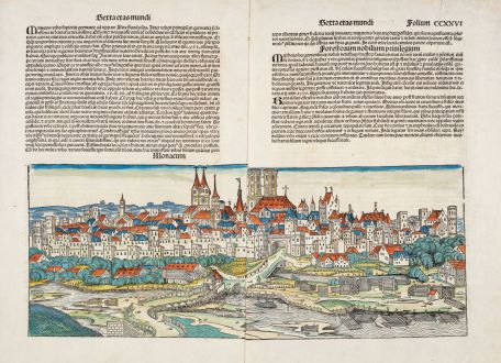 Antique Maps, Schedel, Germany, Bavaria, Munich, München, 1493: Monacum