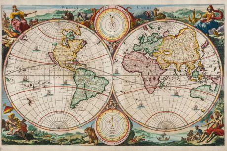 Antike Landkarten, Stoopendaal, Weltkarte, 1680: Werelt Caert