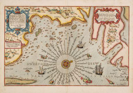 Antike Landkarten, Waghenaer, Schweden, 1583: Zee Custe van Sweeden otrent de Westerwijck en tgatt vann Stockholm... Kalmar... en Rookoe