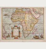 Kolorierte Landkarte des afrikanischen Kontinents. Gedruckt bei Gillis van den Rade im Jahre 1575 in Antwerpen.