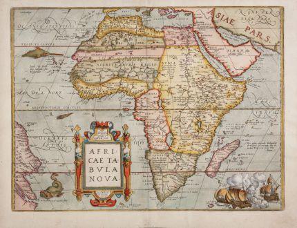 Antike Landkarten, Ortelius, Afrika Kontinent, 1575: Africae Tabula Nova