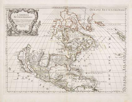 Antique Maps, Rossi, North America, 1677: L'America Settentrionale. Nuovamente Corretta et Accresciuta Secondo le Relationi Piu Moderne da Guglielmo Sansone...