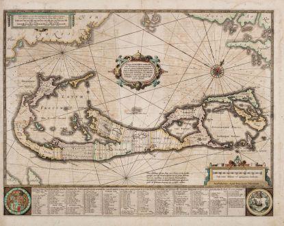 Antique Maps, Hondius, Central America - Caribbean, Bermuda, 1633 [1634]: Mappa Aestivarum Insularum, alias Barmudas Dictarum ... Accurate Descripta