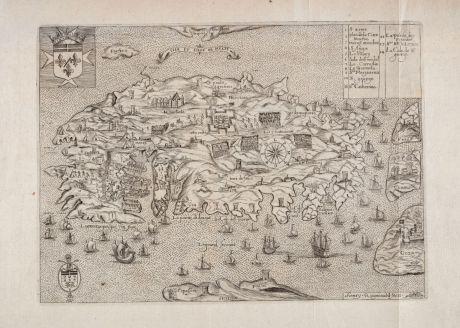 Antike Landkarten, Raigniauld, Malta, 1629 oder 1640: Isle et Siege de Malte