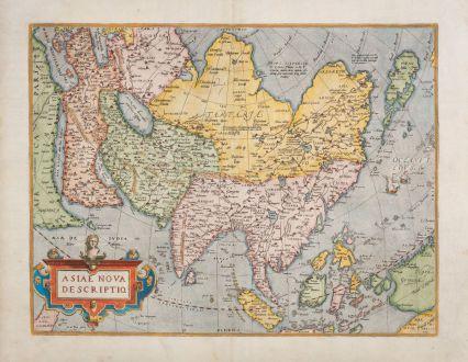 Antike Landkarten, Ortelius, Asien Kontinent, 1579: Asiae nova descriptio