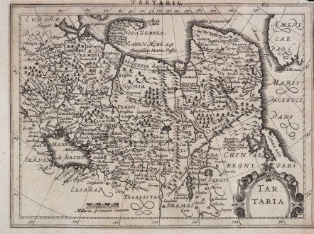 Antike Landkarten, Mercator, Russland, Tataren-Reich, 1630-36: Tartaria