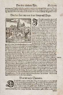 Antique Maps, Münster, Southeast Asia, Myanmar, Bago, 1550: Von Der Statt Und Dem Königreich Pego / Von der Insel Sumatra