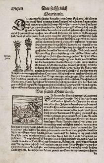 Antike Landkarten, Münster, Nordafrika, Mauretanien, Löwe, 1550: Von Stetten Mauritanie / Von den Löwen und irer Natur