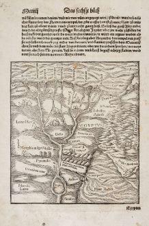 Antike Landkarten, Münster, Ägypten, Nil, 1550: [Nile River delta] / Bacchus