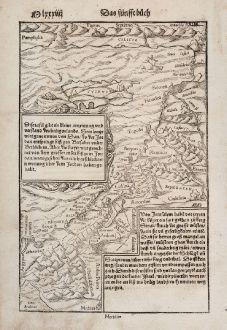 Antike Landkarten, Münster, Heiliges Land, Israel, Zypern, 1550: Die Tafel gibt ein kleine anzeigung... / Von Jerusalem...