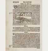 Antique woodcut town view of Sardis, Lydia. Printed in Basle by Heinrich Petri in 1550.