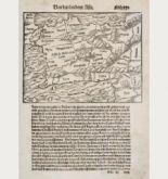 Antike Holzschnitt-Landkarte von Kleinasien. Gedruckt bei Heinrich Petri im Jahre 1550 in Basel.