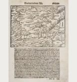Antique woodcut map of Asia Minor. Printed in Basle by Heinrich Petri in 1550.