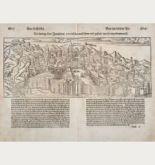 Antike Holzschnitt-Ansicht von Jerusalem. Gedruckt bei Petri im Jahre 1550 in Basel.