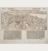 Antique woodcut town view of Jerusalem. Printed in Basle by Petri in 1550.